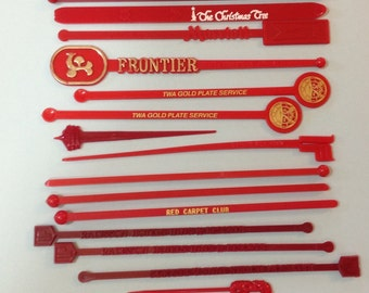 Vintage Swizzle Sticks x 15 Lot of Red Plastic Drink Stir