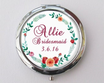 Bridesmaid Gift, Personalized Compact Mirror, Custom Bridesmaid Compact
