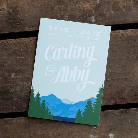 Mountain Save the Date, Save the Date card - The Mountain Range - save the date postcard, eco, rustic save the date, woodland, lake, trees