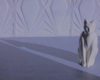 Modern Large White Ceramic Cat Statue Sculpture Mid Century Retro 50's 60's