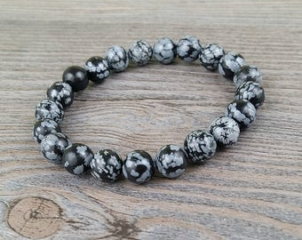 Snowflake obsidian and black tourmaline - gemstone 8mm and 10mm rainbow moonstone