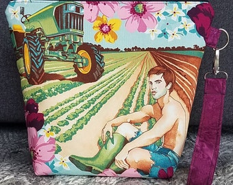 Men Plowing the Fields with Abs; Medium Project Bag; Knitting Bag; Crochet Bag