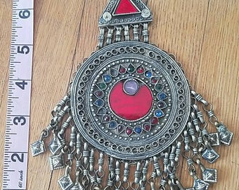 Ornate Colorful Kuchi Round Pendant 1