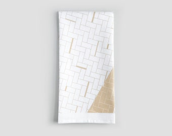 White and Sand Modern Weave Pattern Linen Tea Towel   Dish Towel   Kitchen Hand Towel   Line Pattern Towel   Gifts for Her   Wedding Gift