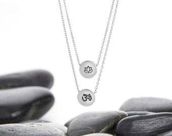 ohm necklace, om pendant, om necklace, lotus necklace, OHM, OM, lotus flower, Lotus charm, Lotus, layer necklace, Yoga Charm