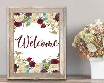 PDF Printable Art - Floral Welcome 8 Wedding Sign
