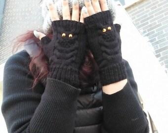 Owl Fingerless Gloves,Black Fingerless Gloves,For Her,women Gift,owl mittens,cable Fingerless Gloves,owl wrist warmers,birthday gift