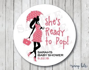 Personalized Ready to Pop Stickers, Ready to Pop Tags, Ready to Pop Labels . Pregnant Lady with Umbrella Baby Shower Favor Tags