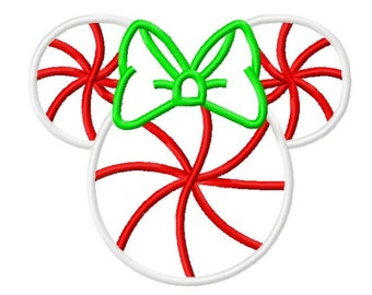 Character Inspired Miss Mouse Peppermint Candy Ears Embroidery Applique Design