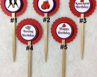 Set Of 12 Boxing Birthday Cupcake Toppers (Your Choice Of Any 12)
