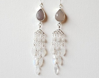 Elegant Chalcedony and Moonstone Chandelier Earrings