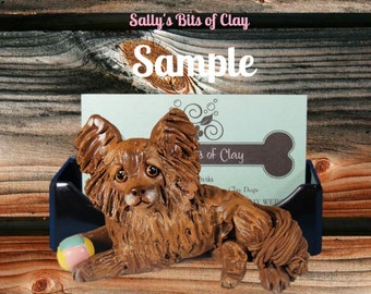 Chocolate Long Haired Chihuahua w/ ball Business Card Holder / Iphone / Cell phone / Post it Notes OOAK sculpture by Sally's Bits of Clay