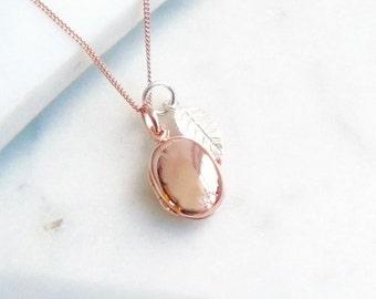 Rose Gold Locket with Leaf Necklace