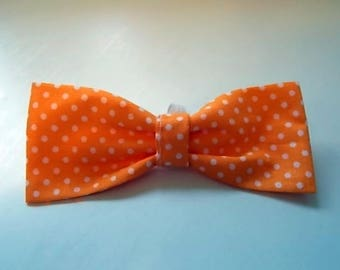 Handmade Orange Polka Dot Dog Bow Tie, Dog Bow Tie,