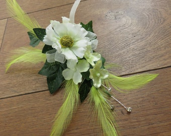 White, Yellow and Green Daisy Corsage, Wedding, Prom. Anniversary.