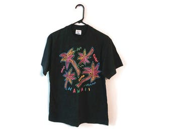 Vintage 80s HAWAII Tee shirt Size L/XL Beach Thin T-Shirt Palm Trees