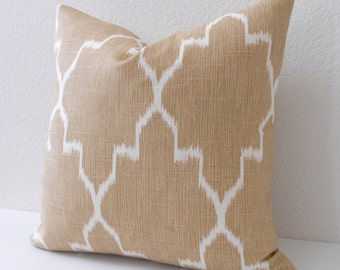 Both sides, Tan moroccan ikat decorative pillow cover, beige pillow