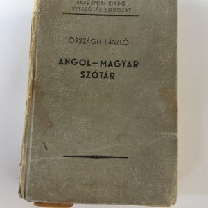 Distressed Antique Book - Vintage Hungarian-English Dictionary - No cover books - Farmhouse - Neutral Decor - Angol-Magyar Szótàr