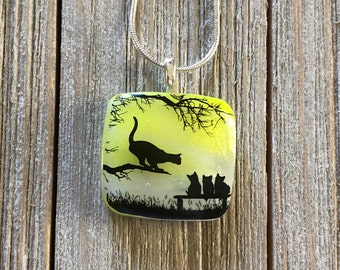Cat and Kittens, Dichroic, Fused Glass, Pendant, Square, Square Dichroic Pendant, Necklace, Silver Plated, Chain Included