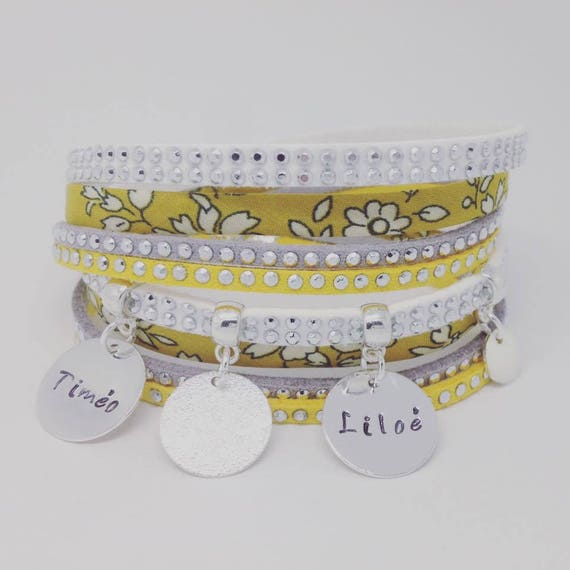 Personalized Bracelet layered with 2 custom ENGRAVINGS by Palilo Liberty yellow mustard