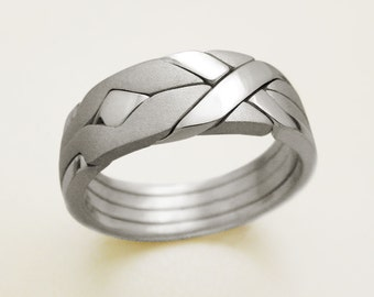 SOLID MATTE - Unique Puzzle Rings by PuzzleRingMaker - Sterling Silver or Gold - 4 Bands
