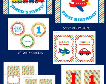 Trains, Planes, & Cars Printable Party Package