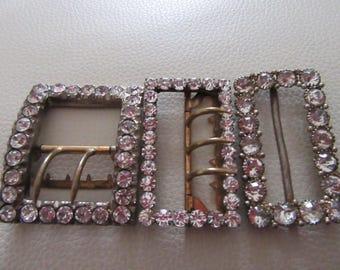 Three vintage diamanté buckles diamante 50s style