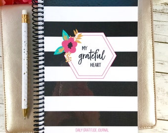 Mothers Day Gift, Gratitude Journal, Thankful Journal,  Friend Gift, Christian Gift, Gratefulness, Writing Journal, Striped Floral.