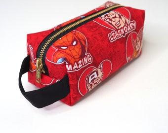 Sweet Avengers Small Boxy Bag with Metal Zipper - Makeup Bag / Pencil Bag/Toiletry Bag
