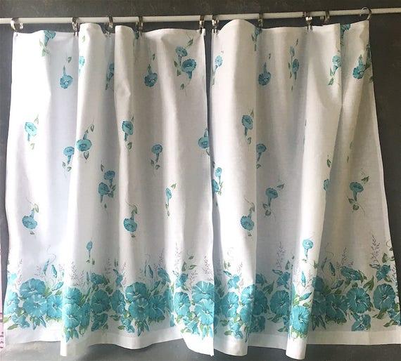 Vintage Cafe Curtains Aqua Print Morning Glory Kitchen