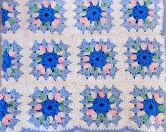 Baby Blue Granny Square Crochet Blanket
