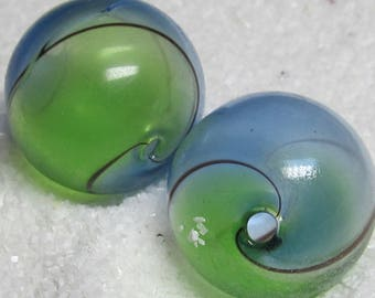 Lampwork Beads 20mm Large Hand Blown Smooth Semi Clear Caribbean Blue and Spring Green  Rounds - 5 pieces