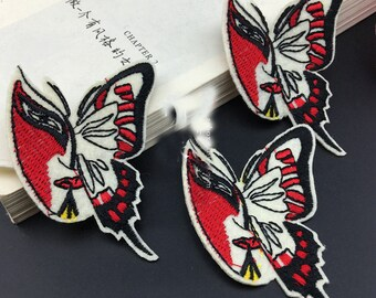 10pcs 5x7cm wide red butterflies pocket embroidered appliques patches et8gb free ship