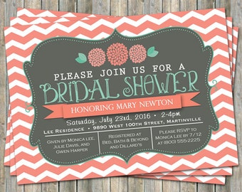Chevron Bridal Shower invitation with flowers, coral, mint green and gray,  printable, digital file
