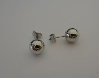14k White Gold 8mm Polished Ball Stud Earrings