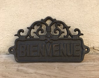 Metal Shabby Home Vintage Door Sign Plaque cast iron french welcome 27031815