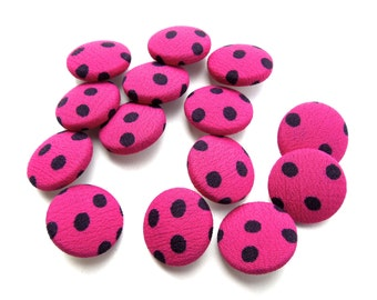 VINTAGE: 15 Polka Dot Fabric Buttons - Cloth Buttons - 20mm