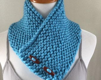 Hand Knitted Ocean Blue Buttoned Neck Warmer Wrap Scarf Cowl