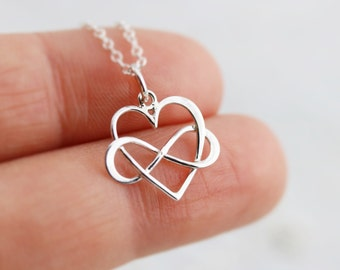 Infinity Heart Necklace - Sterling Silver Inifinity Heart Pendant - Love Jewelry - Wedding Jewelry - Anniversary Gift - Bridal Party Gift