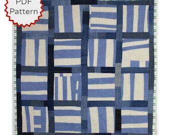 Modern Quilting Pattern. Improvisational Quilt Pattern. Basketweave Improv Quilt Downloadable PDF Pattern from Peppermint Pinwheels