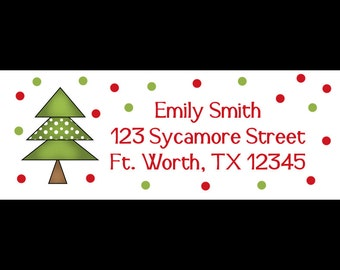 30 Personalized Christmas Tree  Return Address Labels  - Holiday Christmas Design