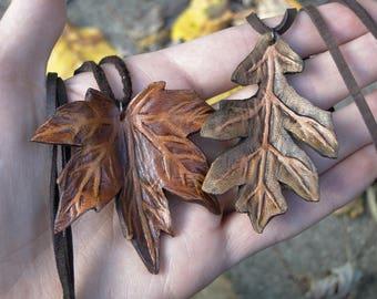 Leaf Necklace, Leather Leaf Pendant - Maple or Oak, Choose Your Leaf -