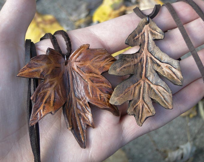 Leaf Necklace, Leather Leaf Pendant - Maple or Oak, Choose Your Leaf -