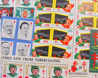Season's Greetings 93 Vintage Christmas Seals Megamix 1950s Midcentury Modern Rockabilly Tuberculosis Traditional American Lung Association
