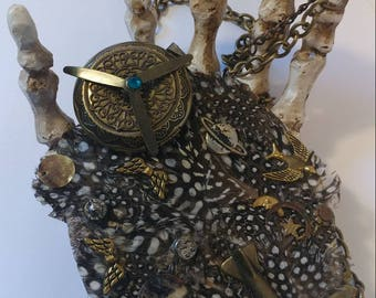 Aerospace Steampunk Locket Gadgetry Pheasant Feather Necklace