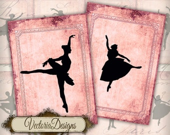 Ballet silhouette ATC vintage images digital background instant download printable collage sheet VD0215