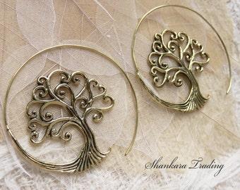 Boho Earrings - Tree of Life Earrings - Tribal Earrings - Brass Earrings - Ethnic Jewellery - Bohemian Jewelry - Gift for Her