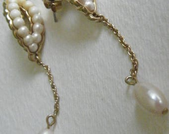 Avon Faux Pearl and Goldtone Dangle Earrings