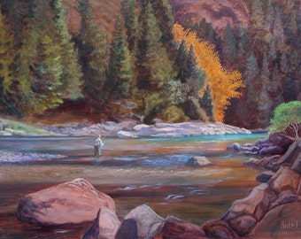 """Very Large Oil Painting """"Fly Fishing the Wild Sky"""" by Antel landscape Wild And Scenic Skykomish River  WA on glowing metallic copper paint"""