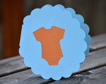 Baby Onesie Circle Scalloped Card